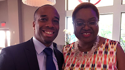 Democratic National Convention CEO Rev. Leah D. Daughtry and Chris Prudhome