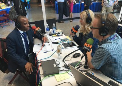 Chris Prudhome sharing thoughts on Millennials and Minorities issues on KFI Radio interview at the DNC
