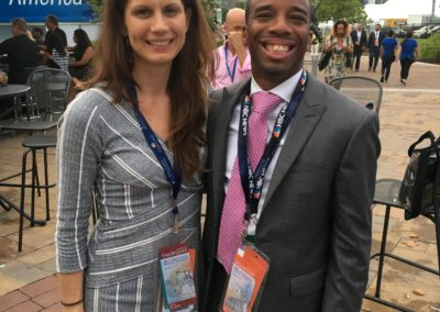 President of Rock The Vote, Carolyn Dewitt and President of Vote America Now, sharing ideas at the DNC